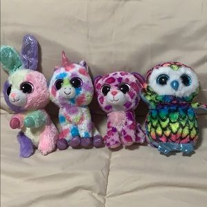 Ty. Lot of 4 multi-colored beanie boos